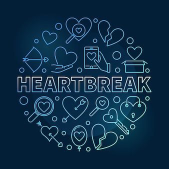 Heartbreak round blue outline icon illustration
