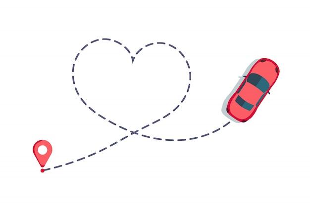 Люблю автомобильный маршрут. hearted путь автомобиля, пунктирная любовь день святого валентина рисунок изолированные