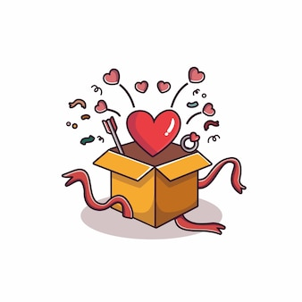 Hearth flying from valentine's gift box