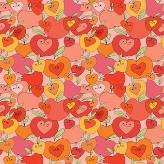 하트와 사과 원활한 패턴