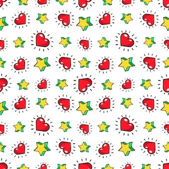 하트와 별 완벽 한 패턴입니다. 레트로 만화 스타일의 패션 배경입니다. 삽화