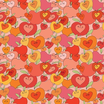 Hearts and apple seamless pattern