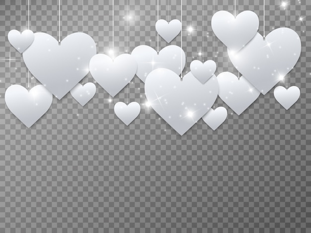 Hearts are white. beautiful shiny hearts on a transparent background.