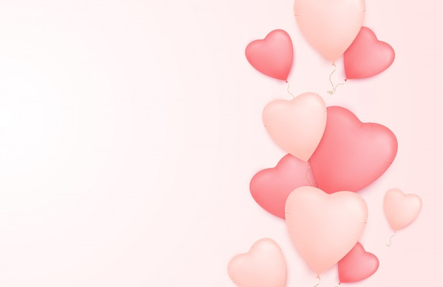 Hearts background with heart shape balloons.