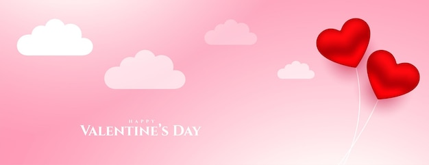 Hearts balloon with clouds romantic valentines day banner design