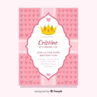 Hearts birthday princess invitation