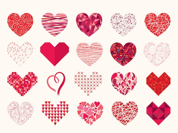 Hearts collection different elements isolated on white