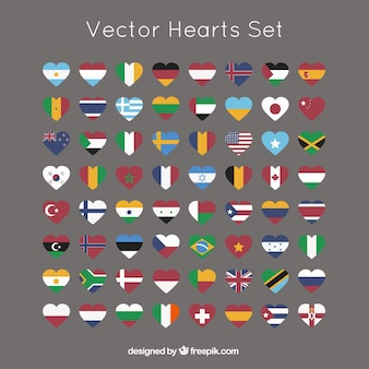 Hearts collection with international flags