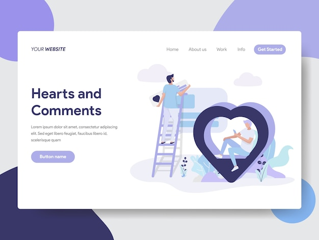 Hearts and comments illustration for web pages