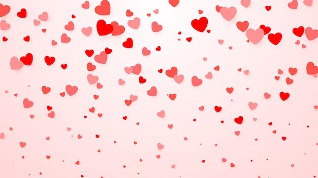 ハートの紙吹雪。ポスター、結婚式の招待状、母の日、バレンタインの日、女性の日、カードのハートの背景。イラスト情事背景