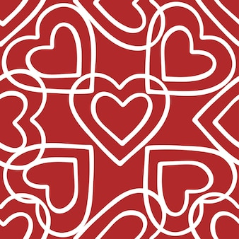 Hearts doodle seamless pattern for christmas or saint valentines