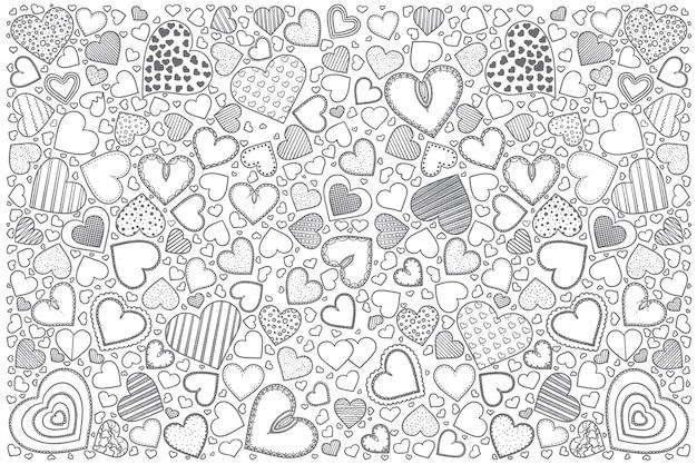 Hearts doodle set