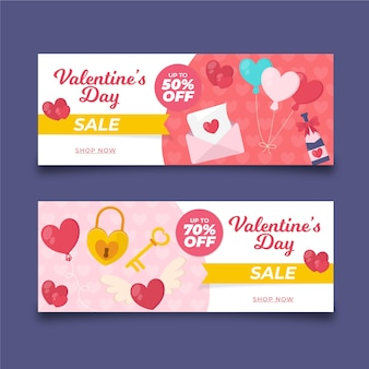 Hearts in envelope valentine's day sale banners