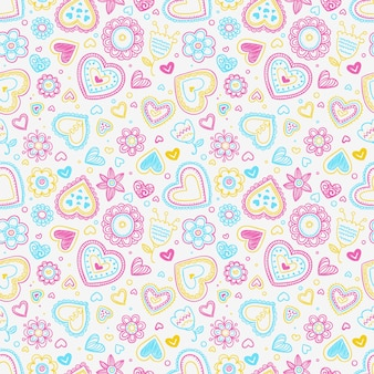 Hearts and flowers pattern Free Vector