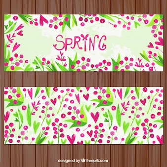 Hearts and flowers spring banners