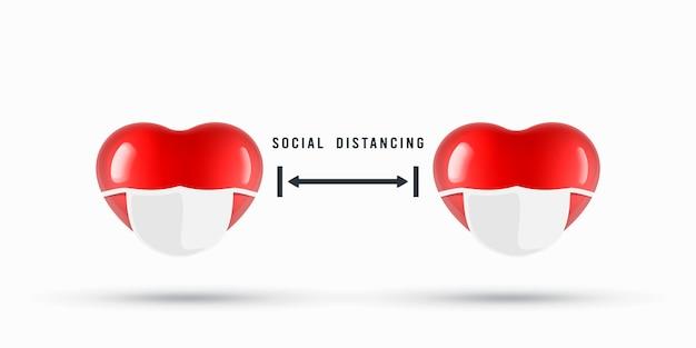 社会的距離の通知のイラストの心