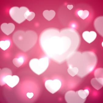 バレンタインデーの背景デザインベクトルイラストの心