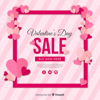 Hearts frame valentine sale background