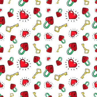 Hearts and golden keys seamless pattern. love background in retro fashion style.  illustration