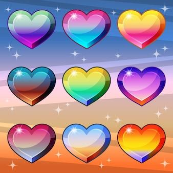 Яркий и блестящий стиль цвета градиента сердца.