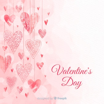 Hearts hanging valentine's day background