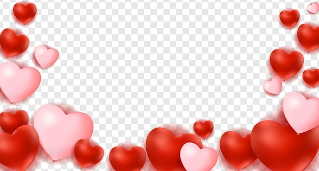 Hearts isolated on transparent background, decorations for valentine's day design