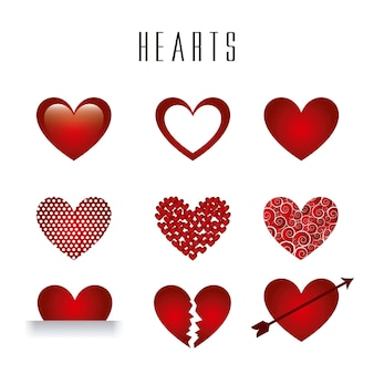 Hearts isolated over white background vector illlutration