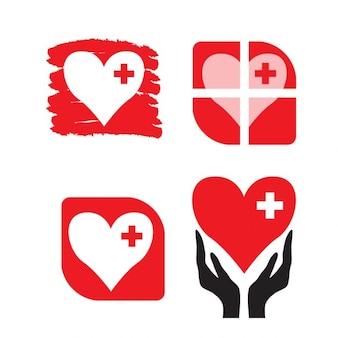 Hearts items set isolated on white background