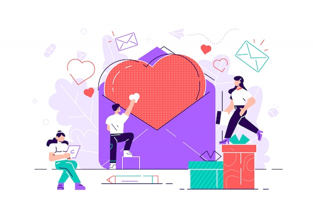 Hearts in large envelopes and small people around them. pink romantic template. modern flat design style  graphic illustration various people set for web page, cards, poster, social media.