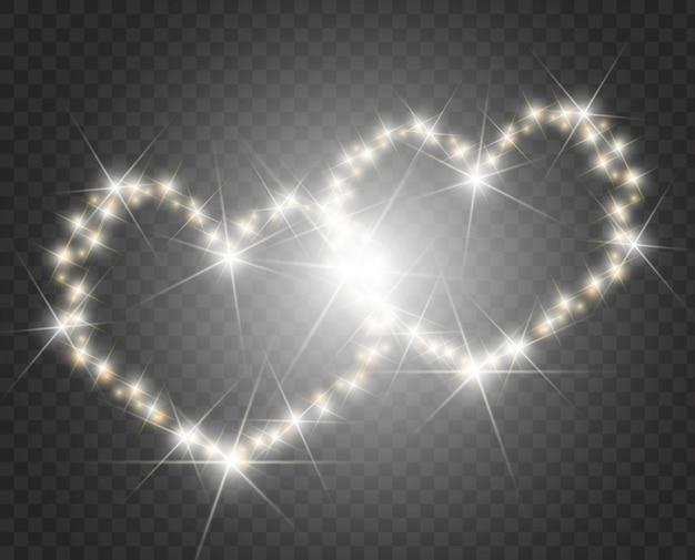 하트 조명 및 흐림 사랑 하트 배경입니다. 빛나는 마음.