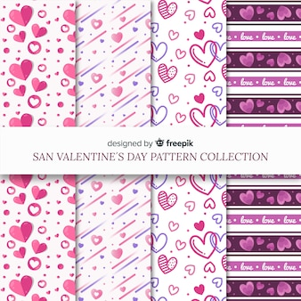 Hearts and lines valentine pattern pack
