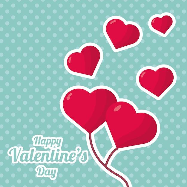 Сердца любят воздушные шары гелиевый день святого валентина в точечном фоне