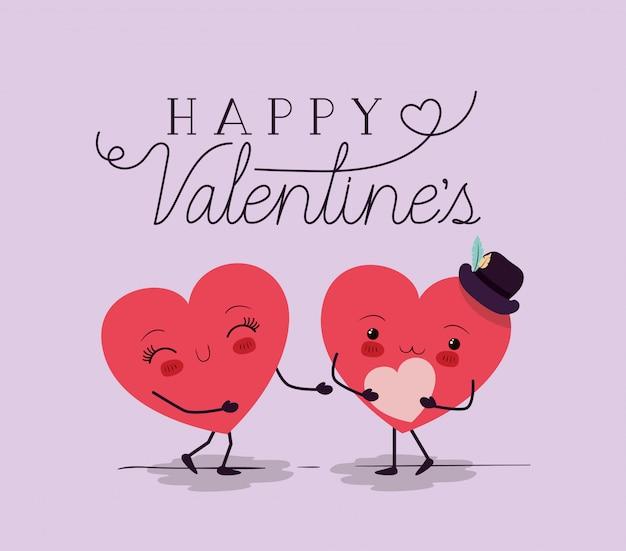Hearts love couple kawaii characters