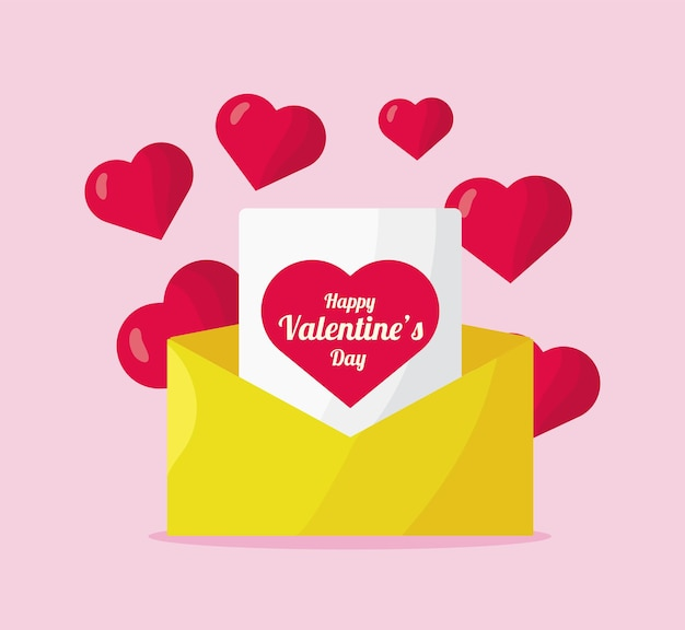 Любовь сердца в конверте день святого валентина иконки