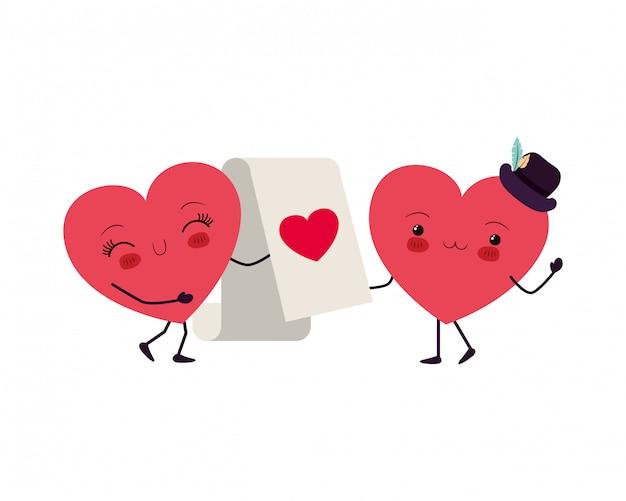 Hearts love kawaii character
