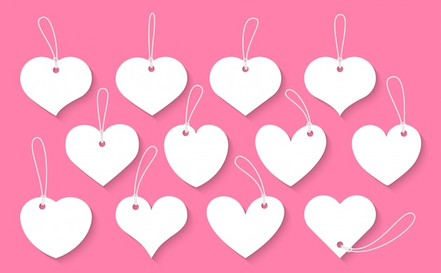 하트 종이 잘라 빈티지 라벨 세트. 발렌타인의 표시, 그림자와 다른 모양의 텍스트 상자에 대 한 가격 태그 빈 서식 파일