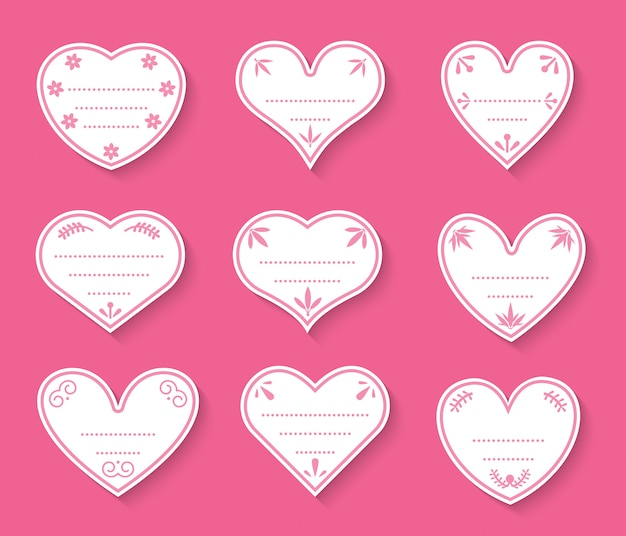 Hearts paper cut vintage labels set. sign of valentines day for price tags, sticker about love. different shape empty template with dots for text box
