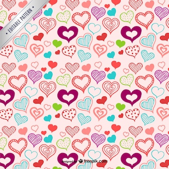 Hearts pattern y hand drawn style