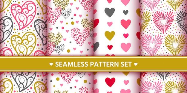 Hearts seamless pattern set