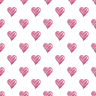 Hearts seamless pattern. valentines day backdrop. 14 february background. hand drawn ornament, texture on background. wedding template. vector illustration.