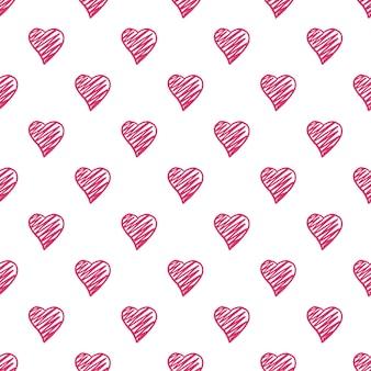 ハートのシームレスパターン。バレンタインデーの背景。 2月14日の背景。手描きの飾り、背景のテクスチャ。結婚式のテンプレート。ベクトルイラスト。