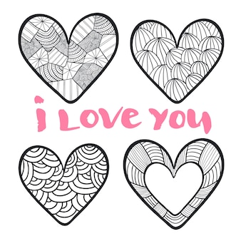 Hearts set in zentangle style