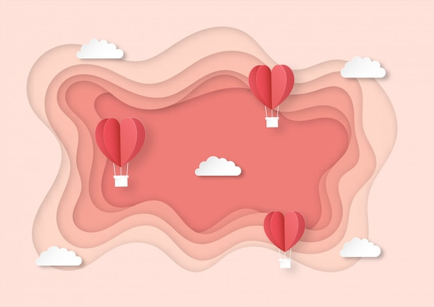 Hearts shaped balloons flying paper art style background.