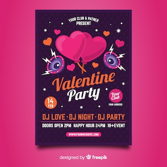 Hearts and speakers valentine party poster