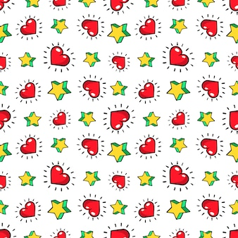Hearts and stars seamless pattern. fashion background in retro comic style.  illustration