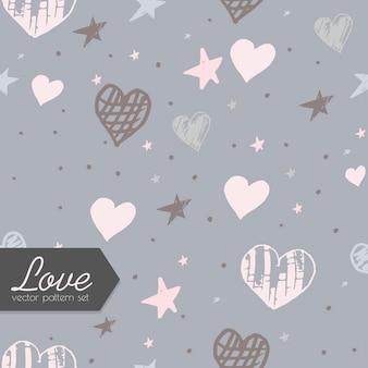 Hearts and stars seamless pattern