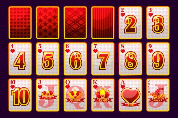 포커와 카지노를위한 하트 슈트 포커 카드 놀이. 장난 컬렉션 기호 바보 갑판에 서명합니다.