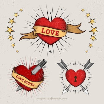 Hearts in tattoo style