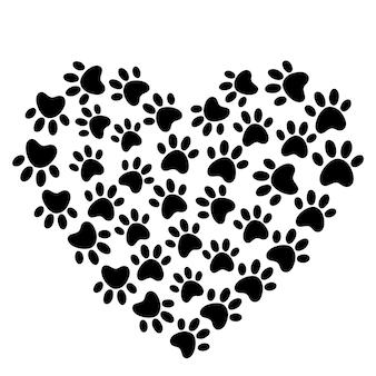 개와 고양이의 발이있는 하트 발 인쇄 개 사랑 개 동물 사랑 상징 발