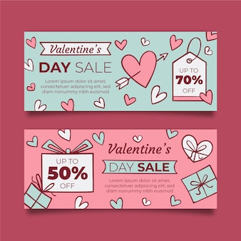 Hearts and wrapped gifts valentine's day banner